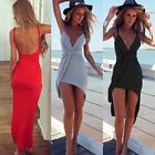 Women Straped Halter Maxi Dress Summer Boho Irregular Beach Split Sundress
