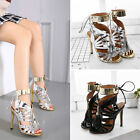 Womens Gladiator Pumps Lace Up Open Toe High Heels Stiletto Sandals Party Shoes