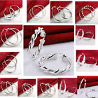 Women Silver Hook Earrings Ear Studs Round Circle Hoops Drop Dangle Jewelry