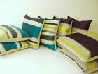 A Set of Four Appliquéd Striped Cushion Covers in Green & Purple or Teal & Grey