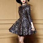 Fashion Womens 3/4 Sleeve High-end Sumptuous Beaded Jacquard Vintage Mini Dress