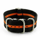 StrapsCo Black   Orange Nylon Strap with Heavy Duty Matte Stainless Steel Rings