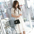 Elegant Womens Summer Casual Short Sleeve Lace Hollow Out Slim Party Long Dress