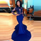Royal Blue Mermaid Long Applique Prom Dress Evening Celebrity Pageant Party Gown