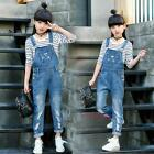 New Spring Kids Young Children Girls Cool Hole Overalls Jeans Long Pants 4-14Y