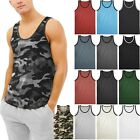 Mens TANK TOP SLEEVELESS SHIRTS Basic Gym Beach Active Tee Training Solid image
