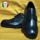 SCARPE  Uomo DERBY in Vera Pelle BLU Made in Italy