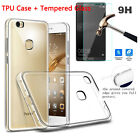 Clear Crystal TPU Soft case Cover + Tempered glass Screen Film for Huawei phones