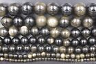 Natural Gold Sheen Obsidian Gemstone Round Beads 4mm 6mm 8mm 10mm 12mm 15.5''