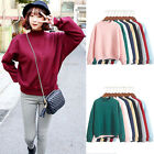 Womens Girls Hoodies Casual Plain Sweatshirt Pullover Outwear Tops Clothing Plus