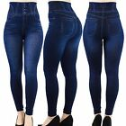 Women's Skinny Dark Denim Jeggings Fashion Trendy Stretchy Leggings(s)