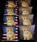 PATRIOTIC CAT LOVERS KITTEN RED AND BLUE ACA Regulation Cornhole Bean Bags B215