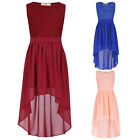 Fashion Kids Girls Dip Hem High Low Assymetric Lace Chiffon Party Midi Dress NEW