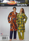 SIMPLICITY PATTERN BATH ROBE VERY EASY MISSES' MEN'S TEENS' SIZE XS-XL # 1268