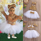 Fancy Kids Baby Girl Sequins Tops+Tutu Skirts Outfits Set Party Dress US Stock