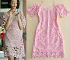 Occident fashion style sweet pink sexy water soluble hollow condole belt dress