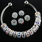 10Pcs Czech Crystal Silver Spacer Charm Beads Locks Clips Stoppers Fit  European