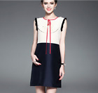 Occident spring/summer fashion brand Color matching women sleeveless dress SMLXL