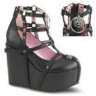 Demonia POISON-25-1  Black Vegan Leather Wedge Platform Cage Bootie Back Metal