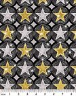 Hollywood Stars Fabric Silver Background Movie Awards Benartex 100% Cotton OOP