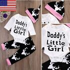 US Stock- Cotton Baby Girls Tops Romper Pants Hat Home Outfits 3Pcs Set Clothes