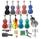 NEW CELLO Bow Carrying Soft Bag 2 Stands Tuner Rosin Strings STUDENT BEGINNER