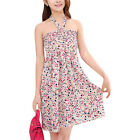 Ladies Halter Neck Dots Floral Print Smocked Bust Casual Beach Dress