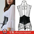 WOMENS LEATHER WAIST CINCHER BELT WIDE BAND ELASTIC TIED WASPIE CORSET BLACK UK