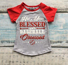 Girls Hot Mess Blessed and Baseball Obsessed Red Gray Raglan Summer Top Tee 2T-7