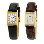 Seiko Solar Champagne/White Dial Leather Ladies Watch - Choose color