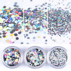 Holographic Nail Sequins Silver Laser Hexagon 1/2 /3mm Glitter Paillette Flakes