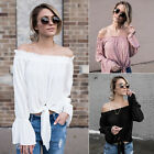 Women Long Sleeve Off Shoulder Top Sexy ladies Casual Loose Blouse T Shirt Tops