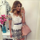 Women's Summer Lace Short Sleeve Casual Evening Cocktail Party Short Mini Dress