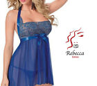 DONNA SEXY HOT LINGERIE INTIMO NOTTE BABY DOLL BLU RICAMO 2 PEZZI PERIZOMA
