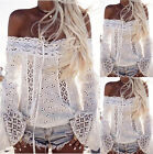 UK Womens Lace Off Shoulder Long Sleeve Ladies Casual Paty Tops T-Shirt Blouse
