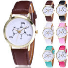 New Fashion Pattern Leather Band Analog Quartz Vogue Gold Casual Wrist Watches