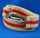 Adults Boys Mens Ladies childs Beige Red 30mm Elasticated Snake Belt l xl xxl