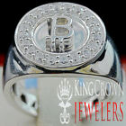 Mens 10K White Gold Over Sterling Silver Lab Diamond Bitcoin QR Pinky Ring Band