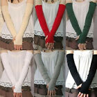 Women's Cotton UV Protection Arm Warmer Long Fingerless Gloves Sleeves Eager