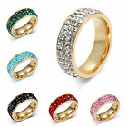 3 Row Crystal 18k Gold Plated Titanium Steel Ring Wedding Band Size 5-13