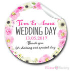 1xA4 sheet Personalised Wedding Day Favours Stickers Labels watercolour flowers