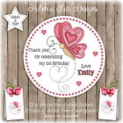 BUTTERFLY HEARTS BIRTHDAY PARTY PERSONALISED ROUND GLOSS STICKERS X12