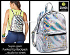 Zumba FUNKED UP BACK PACK Tote Gym Bag -Travel Silver Glam!100% Pu Leather RARE!