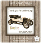 VINTAGE CAR 70TH 80TH 90TH BIRTHDAY PARTY PERSONALISED SQUARE GLOSS STICKERSx12