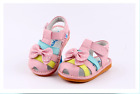Girl's Infant Toddler Children's Squeaky Shoes Pink Real Leather Summer Sandals