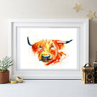 COW PAINTING ORIGINAL PRINT HIGHLAND COW, WALL DECOR ABSTRACT