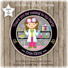 SCIENCE GIRLS BIRTHDAY PARTY PERSONALISED ROUND GLOSS STICKERS X 12