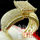 Engagement Bridal Band Wedding Ring Ladies 10K Yellow Gold Silver Simu Diamond