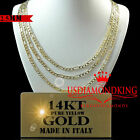 14K REAL SOLID YELLOW ITALIAN GOLD FIGARO LINK CHAIN NECKLACE 2.5MM 16''~24''