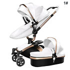 Baby Stroller 2 in 1 Leather Carriage Infant Travel Car Foldable Pram Pushchair